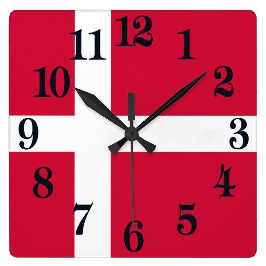 Reloj Cuadrado Bandera de Dinamarca o del paño danés