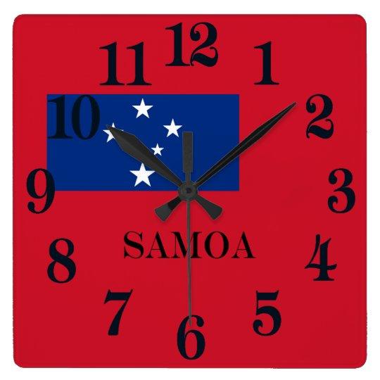 Reloj Cuadrado Bandera de la isla de Samoa