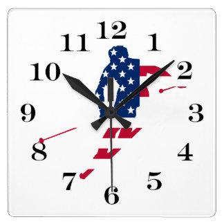 Reloj Cuadrado Bandera de los E.E.U.U. del americano de esquí de