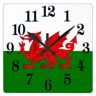Reloj Cuadrado Bandera de País de Gales