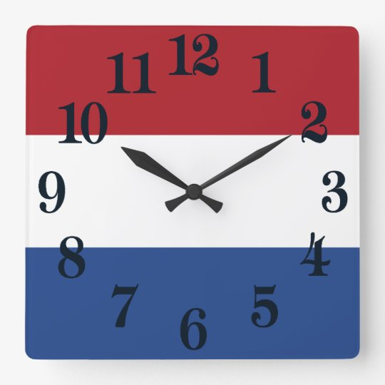 Reloj Cuadrado Bandera de Países Bajos