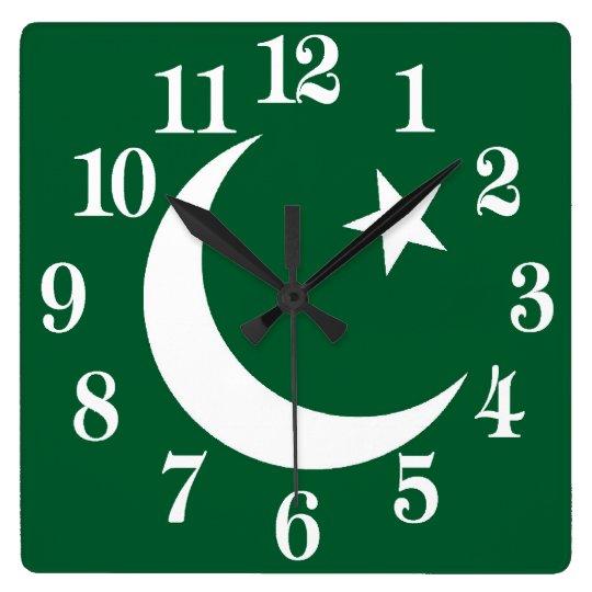 Reloj Cuadrado Bandera de Paquistán
