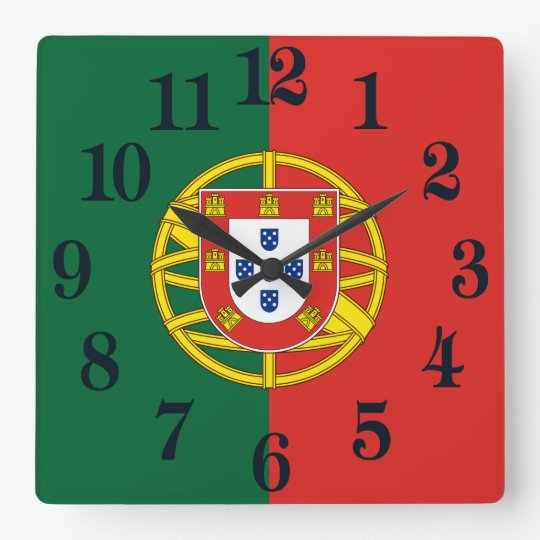 Reloj Cuadrado Bandera de Portugal