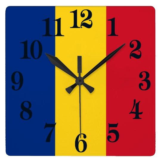 Reloj Cuadrado Bandera de Rumania
