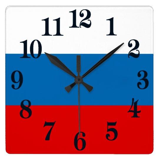 Reloj Cuadrado Bandera de Rusia