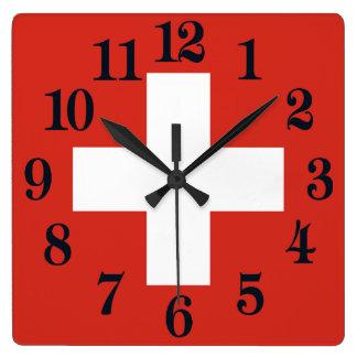 Reloj Cuadrado Bandera de Suiza