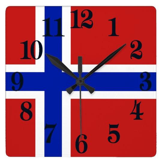 Reloj Cuadrado Bandera del escandinavo de Noruega