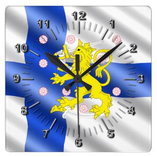Reloj Cuadrado Bandera finlandesa
