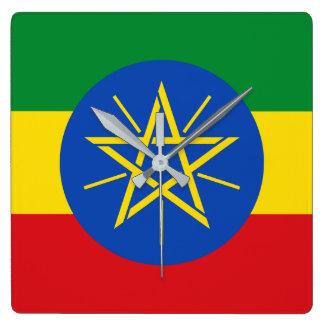 Reloj Cuadrado Bandera nacional del mundo de Etiopía
