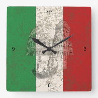 Reloj Cuadrado Bandera y símbolos de Italia ID157