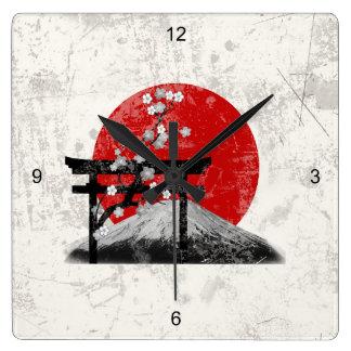 Reloj Cuadrado Bandera y símbolos de Japón ID153