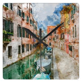 Reloj Cuadrado Barcos en los canales de Venecia Italia