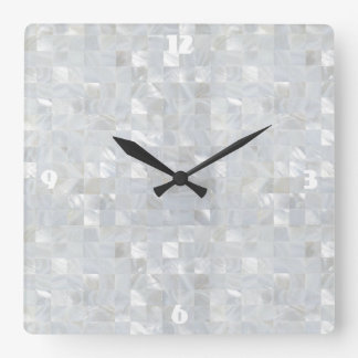 Reloj Cuadrado Blanco NACARADO de la IMPRESIÓN