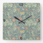 Reloj Cuadrado Bolas dobles florales William Morris
