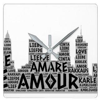Reloj Cuadrado Brooklyn Nueva York ilustrada con palabra del amor