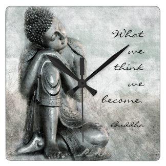 Reloj Cuadrado Buda de plata pacífico con cita sabia