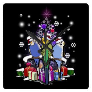 Reloj Cuadrado Budgerigars con el navidad regalo y copos de nieve