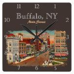Reloj Cuadrado Calle principal - búfalo, personalizado de NY