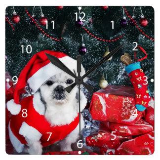 Reloj Cuadrado Caniche santa - perro del navidad - perro de Papá