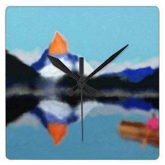 Reloj Cuadrado Canotaje por arte de las montañas