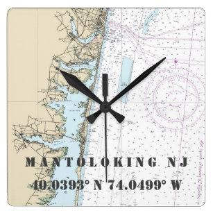 Reloj Cuadrado Carta náutica de la longitud de la latitud de