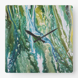 Reloj Cuadrado Cascada azulverde abstracta colorida de la