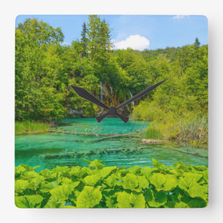 Reloj Cuadrado Cascadas en el parque nacional de Plitvice en