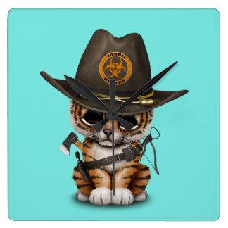 Reloj Cuadrado Cazador lindo del zombi de Cub de tigre