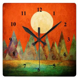 Reloj Cuadrado Cielo abstracto del naranja de las montañas de la