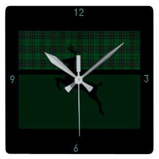 Reloj Cuadrado Ciervos verdes de la tela escocesa