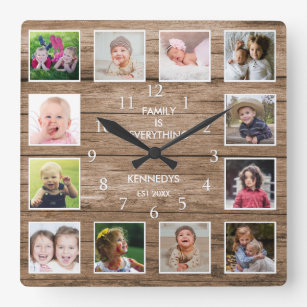 Reloj Cuadrado Cita de familia de Personalizado 12 Collages de fo