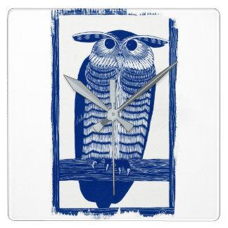 Reloj Cuadrado Cite el búho moderno en azul