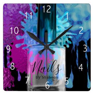 Reloj Cuadrado Clave el diseño colorido de la salpicadura del