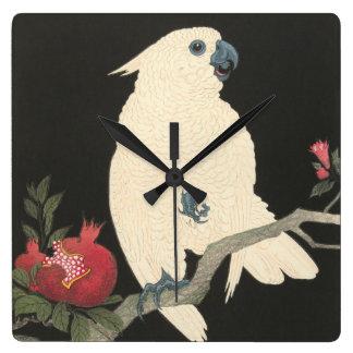 Reloj Cuadrado Cockatoo blanco japonés de la bella arte el | del