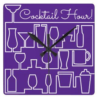Reloj Cuadrado Cóctel púrpura