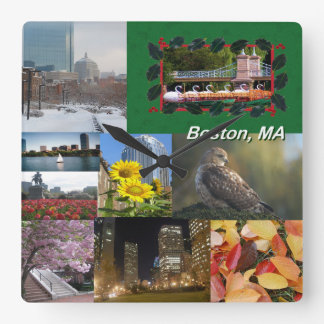 Reloj Cuadrado Collage de la foto de Boston, Massachusetts