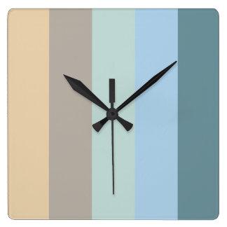 Reloj Cuadrado Color cinco combinado - turquesa del beige de la