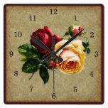 Reloj Cuadrado Color de rosa gótico del vintage