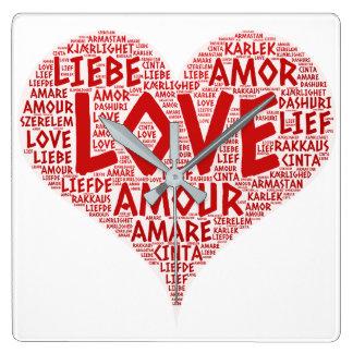 Reloj Cuadrado Corazón ilustrado con palabra del amor