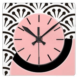 Reloj Cuadrado Corte del art déco (rosa de la plaza+Negro)