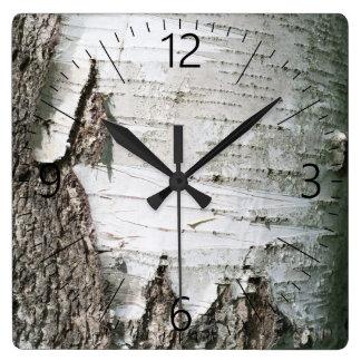 Reloj Cuadrado Corteza de abedul