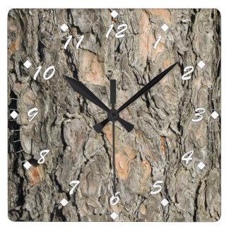 Reloj Cuadrado Corteza de árbol de pino