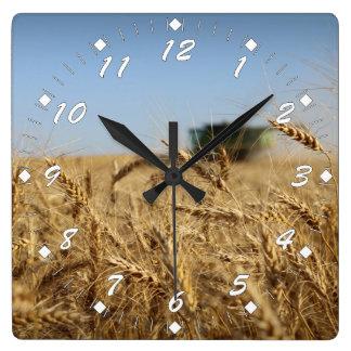 Reloj Cuadrado Cosechadora del verde de la cosecha del trigo