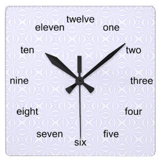 Reloj Cuadrado Cuadrados Squiggly blancos