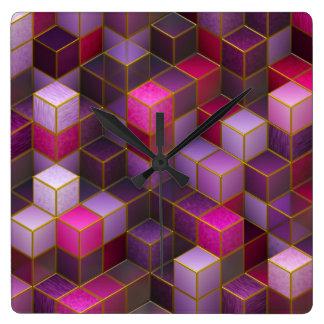 Reloj Cuadrado Cubos marrón