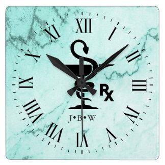 Reloj Cuadrado Cuenco de mármol de encargo de las iniciales del