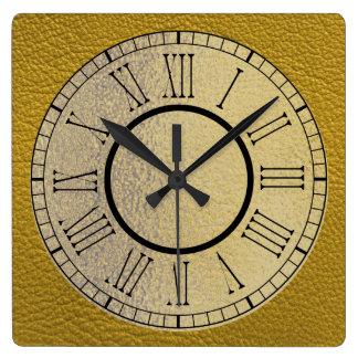 Reloj Cuadrado Cuero amarillo con oro y números romanos