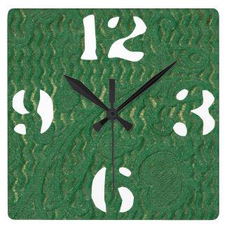 Reloj Cuadrado Cuero repujado verde adaptable de la textura