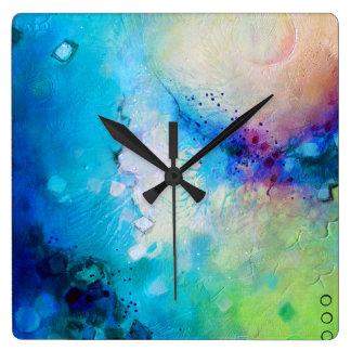 Reloj cuadrado decorativo colorido