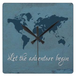 Reloj Cuadrado Deje la aventura comenzar
